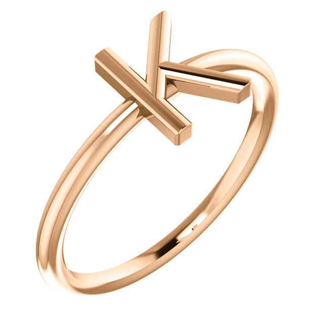 """14 Karat Rose Gold Stackable Initial Letter """"K"""" Ring"""