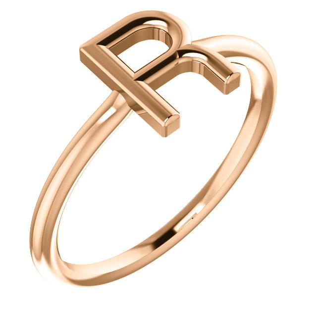 "14 Karat Rose Gold Stackable Initial Letter ""R"" Ring"