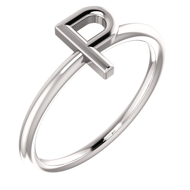 """14 Karat White Gold Stackable Initial Letter """"P"""" Ring"""