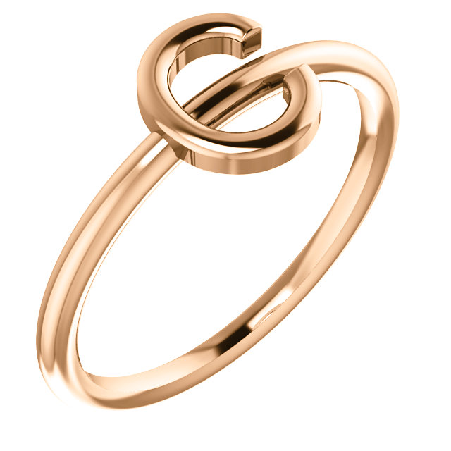 "14 Karat Rose Gold Stackable Initial Letter ""C"" Ring"