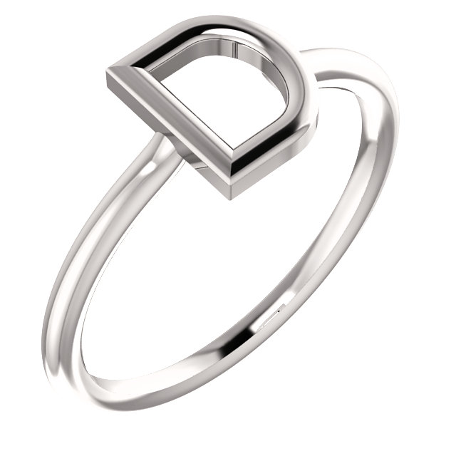 "14K White Gold Stackable Initial ""E"" Ring"