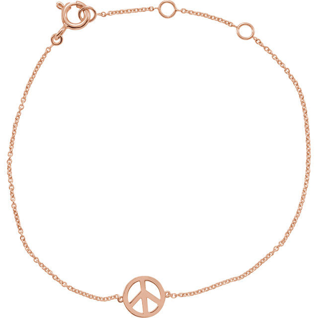 14 Karat Gold Pretty Petite Peace Sign Bracelet