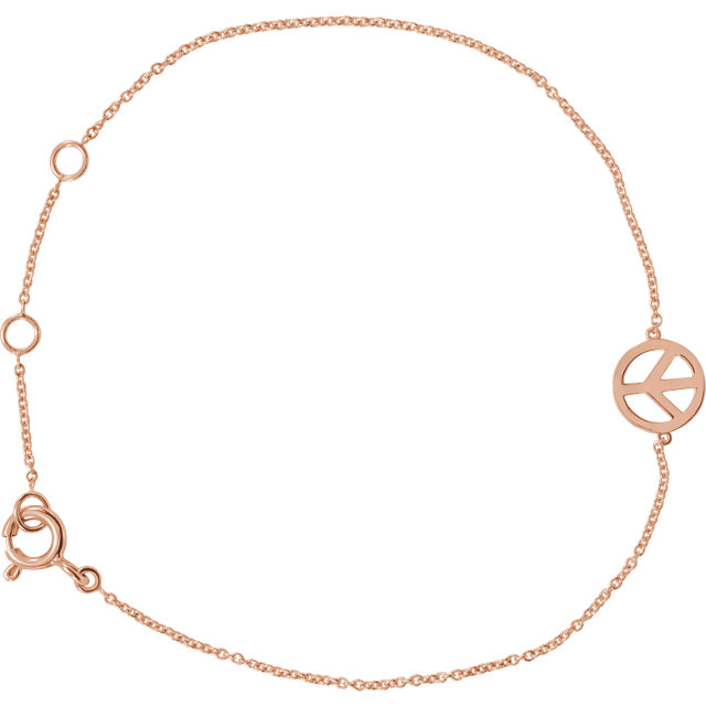14 Karat Rose Gold Pretty Petite Peace Sign Bracelet AND Anklet