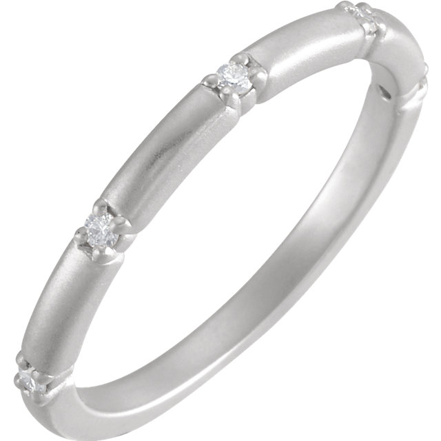 14 Karat White Gold Petite Diamond Five Stone Anniversary Band Ring