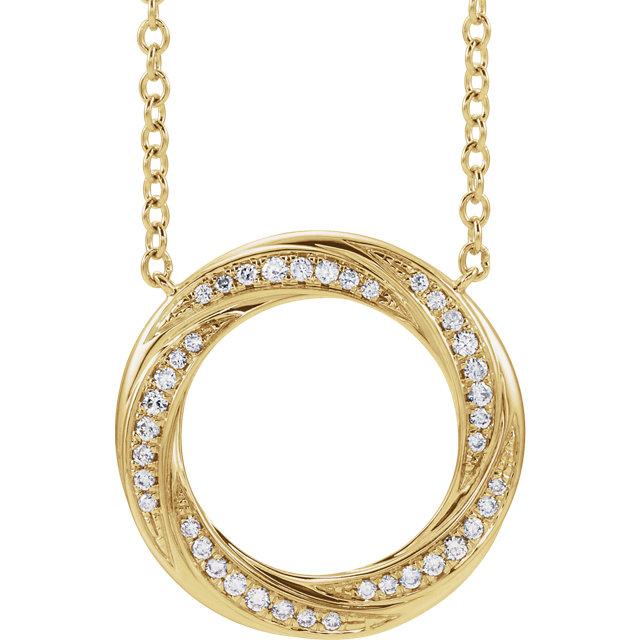 14 Karat Yellow Gold 1/5 CTW Diamond Circle of Life Necklace