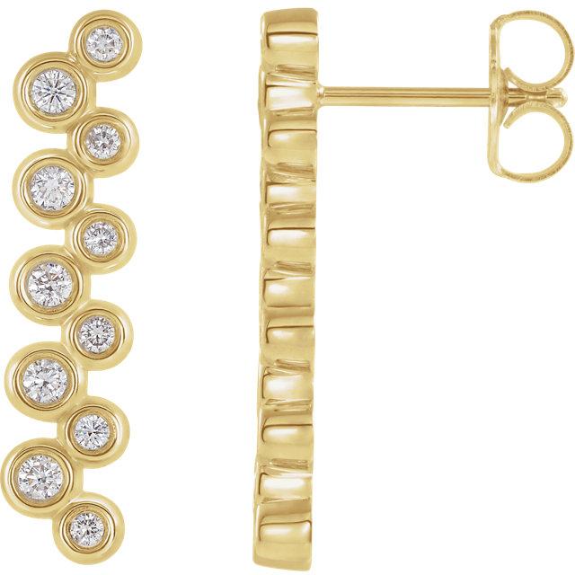 14 Karat Yellow Gold 1/3 CTW Diamond Bezel Set Dangle Earrings