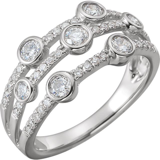 14 Karat White Gold 3/4 CTW Diamond Negative Space Pop Ring