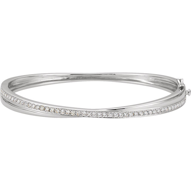 14K White Gold 1 Carat Diamond Bangle Bracelet