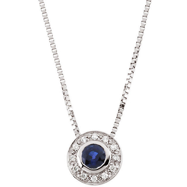 14 Karat White Gold Round Genuine Sapphire & Diamond Cocktail Necklace