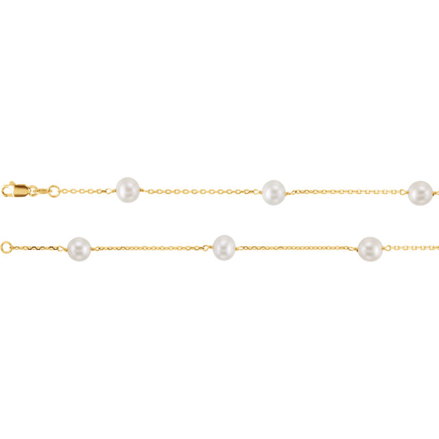 14K Gold Classic Station Fresh Culture Pearl Necklace