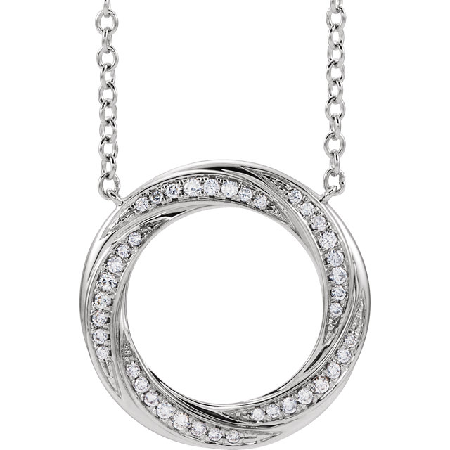 14 Karat White Gold 1/5 CTW Diamond Circle of Life Necklace