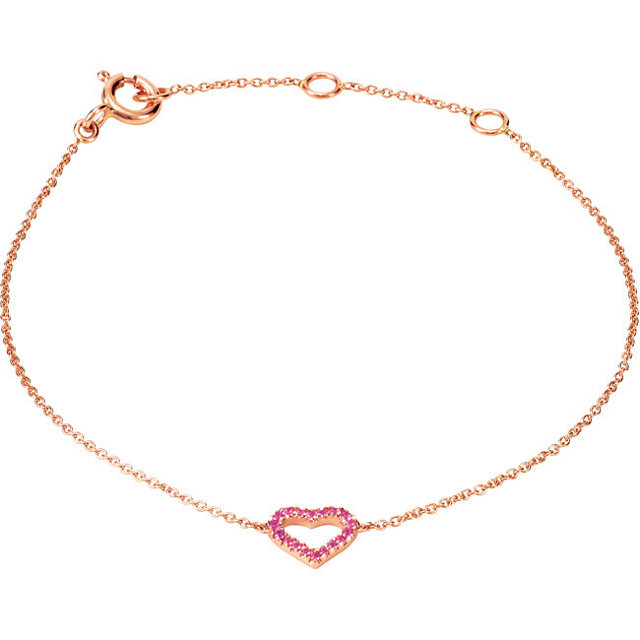 14K Rose Gold Pretty In Pink Sapphire Heart Bracelet