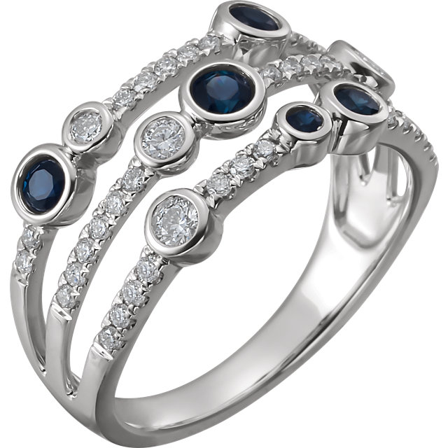 14 Karat White Gold Blue Sapphire & Diamond Negative Space Pop Ring