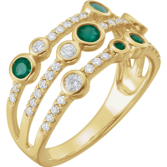 14 Karat Yellow Gold Emerald & 3/8 CTW Diamond Negative Space Pop Ring