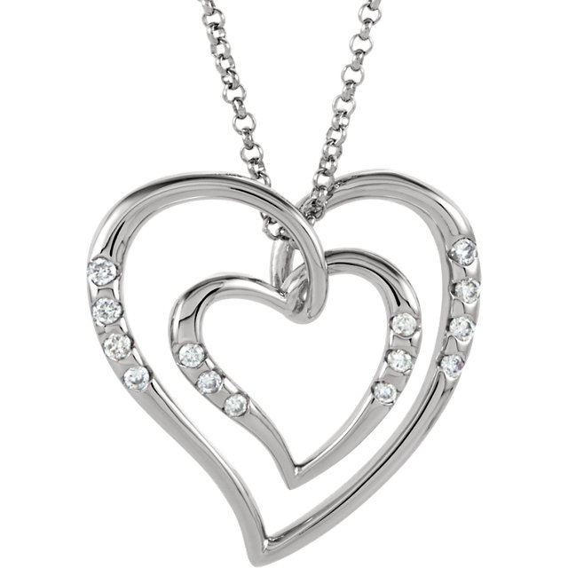 14K White Gold 1/10 CTW Diamond Heart Necklace
