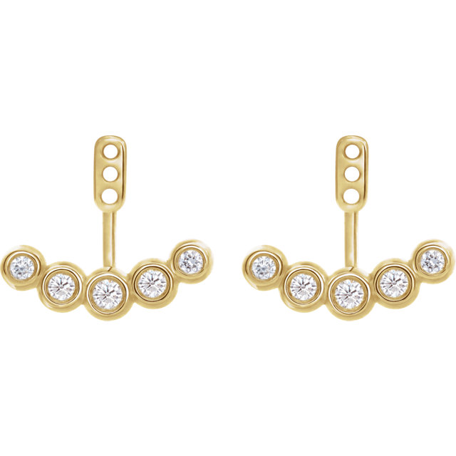 14 Karat Yellow Gold 1/4 CTW Diamond Curved Front-Back Earring Jackets