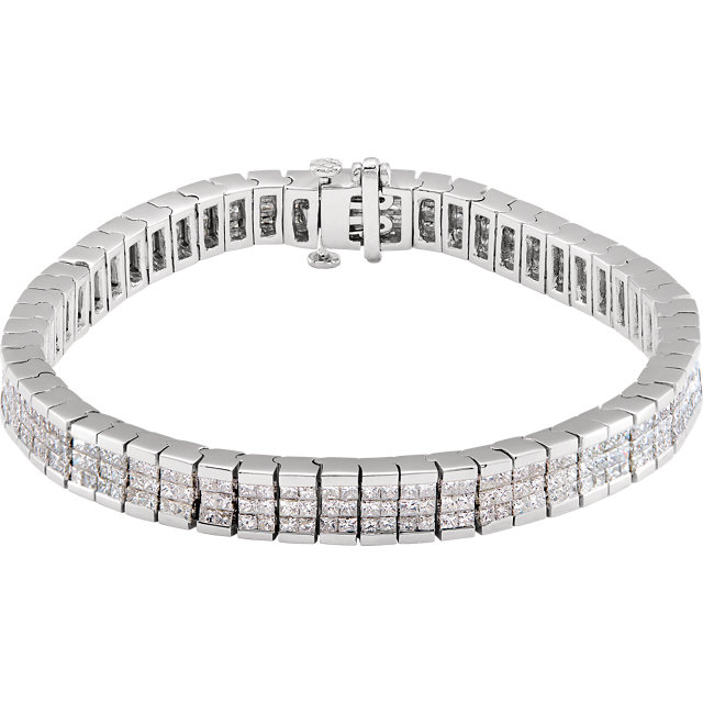 14 Karat White Gold Triple Row Diamond Tennis Line Bracelet