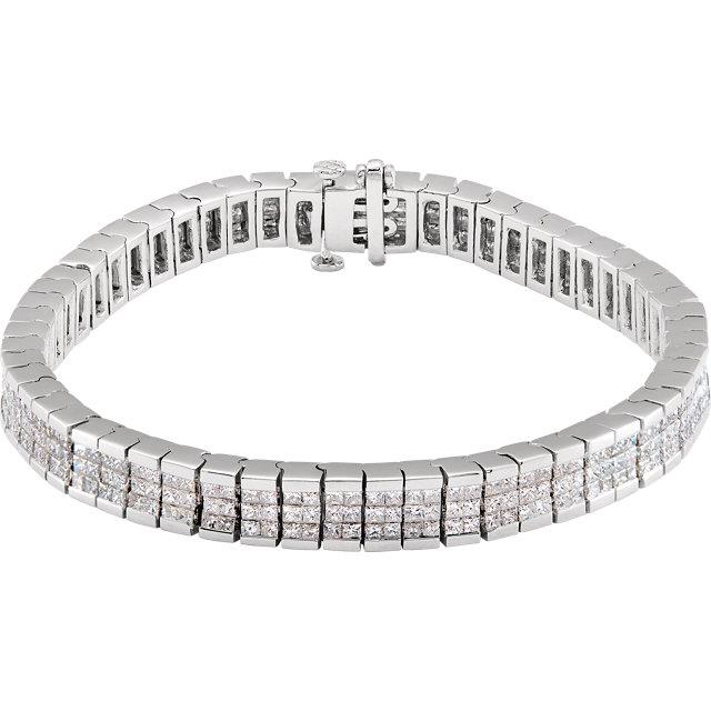 14 Karat White Gold Triple Row Diamond Tennis Line Bracelet