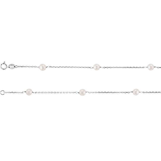 14K White Freshwater Cultured Pearl Station 7″ Bracelet