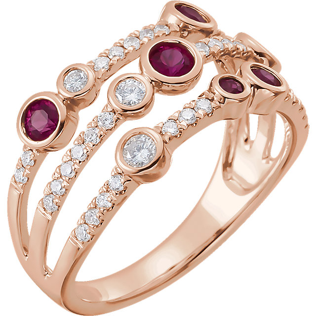 14 Karat Rose Gold Ruby & 3/8 CTW Diamond Negative Space Pop Ring