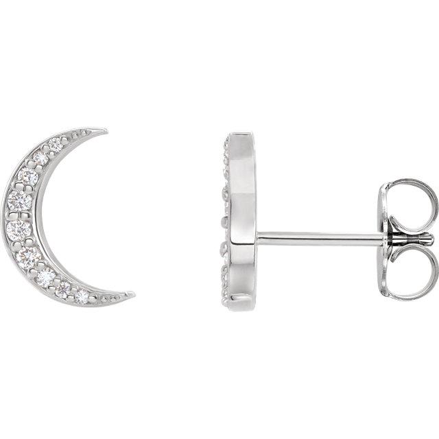 14 Karat White Gold 1/10 CTW Diamond Crescent Moon Stud Earrings