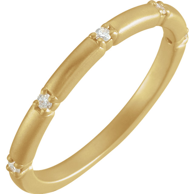 14 Karat Yellow Gold Petite Diamond Five Stone Anniversary Band Ring