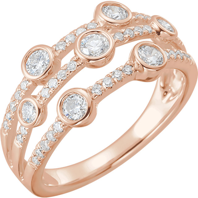 14 Karat Rose Gold 3/4 CTW Diamond Negative Space Pop Ring
