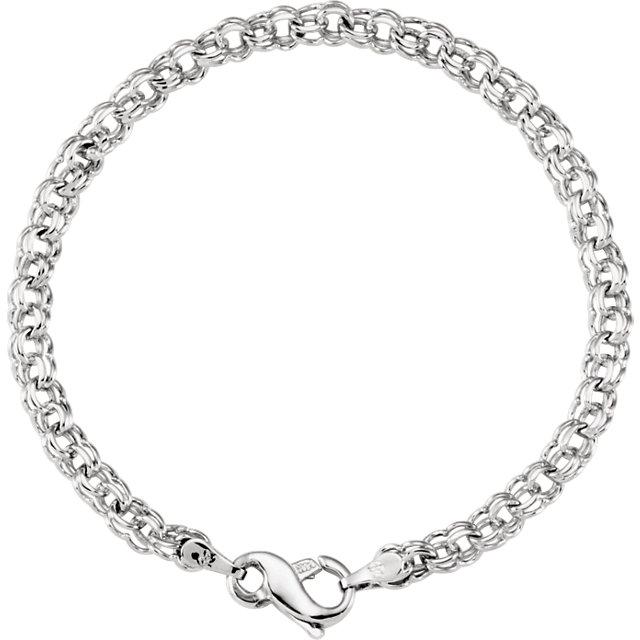 14K White Gold Solid Double Link Charm Bracelet
