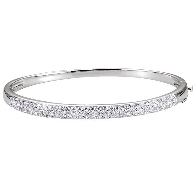 14K White Gold 1.5 CTW Diamond Cuff 7″ Bracelet