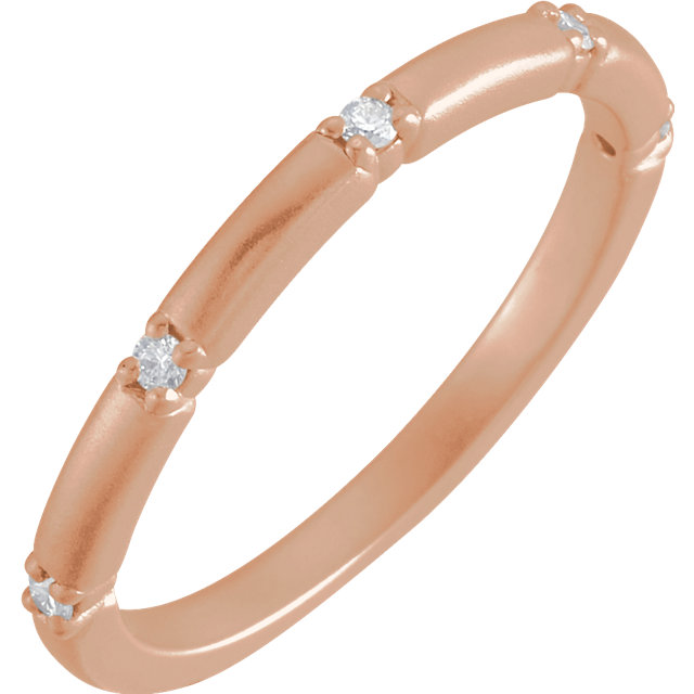 14 Karat Rose Gold Petite Diamond Five Stone Anniversary Band Ring