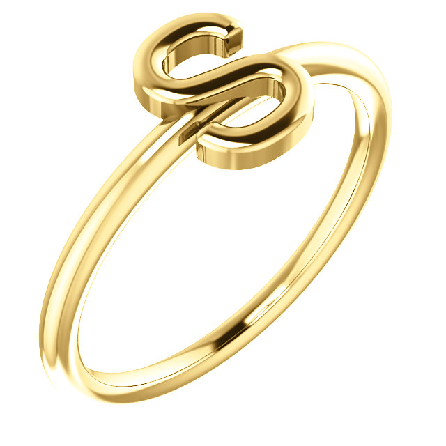 """14 Karat Yellow Gold Stackable Initial Letter """"S"""" Ring"""