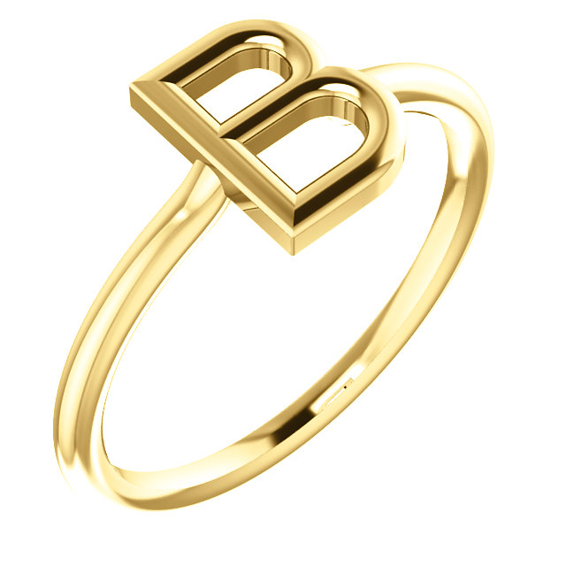 """14 Karat Yellow Gold Stackable Initial Letter """"B"""" Ring"""