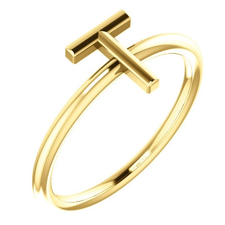 "14 Karat Yellow Gold Stackable Initial Letter ""T"" Ring"