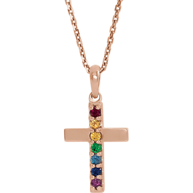 14 Karat Gold Rainbow Multi Color Gemstone Cross Necklace