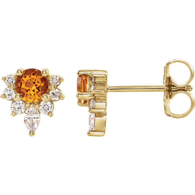 14 Karat Gold Genuine Citrine and 1/6 CTW Diamond Cocktail Stud Earrings