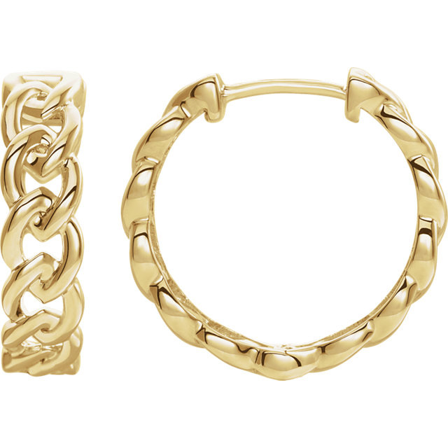 14 Karat Yellow Gold Solid Chain Link Style Hoop Earrings