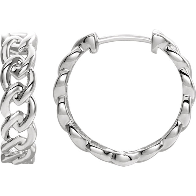 14 Karat White Gold Solid Chain Link Style Hoop Earrings