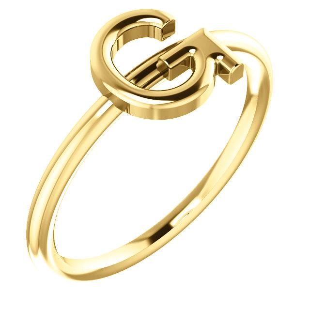 "14 Karat Yellow Gold Stackable Initial ""G"" Ring"