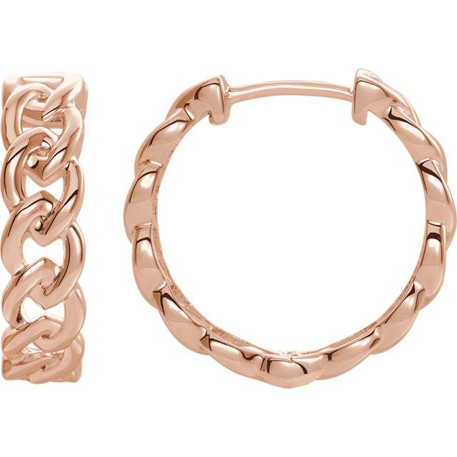 14 Karat Rose Gold Solid Chain Link Style Hoop Earrings
