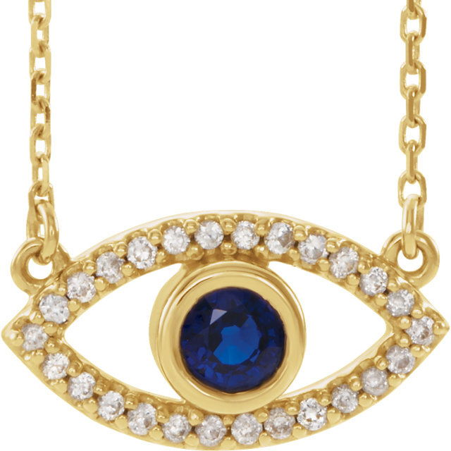 14 Karat Gold White and Blue Sapphire Evil Eye Necklace