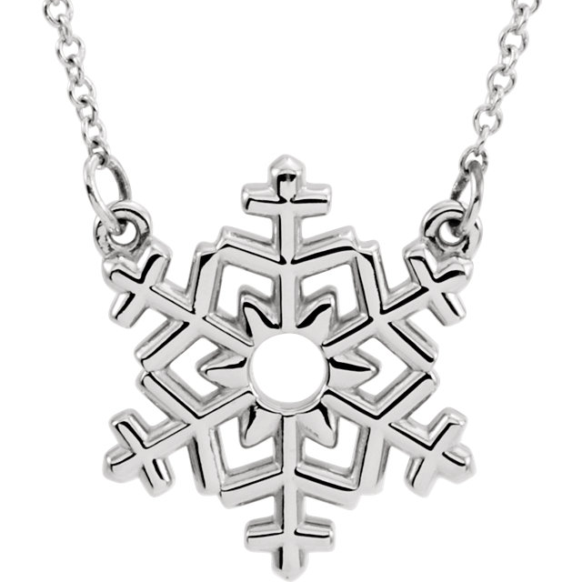 14 Karat Gold Polished Snowflake Necklace