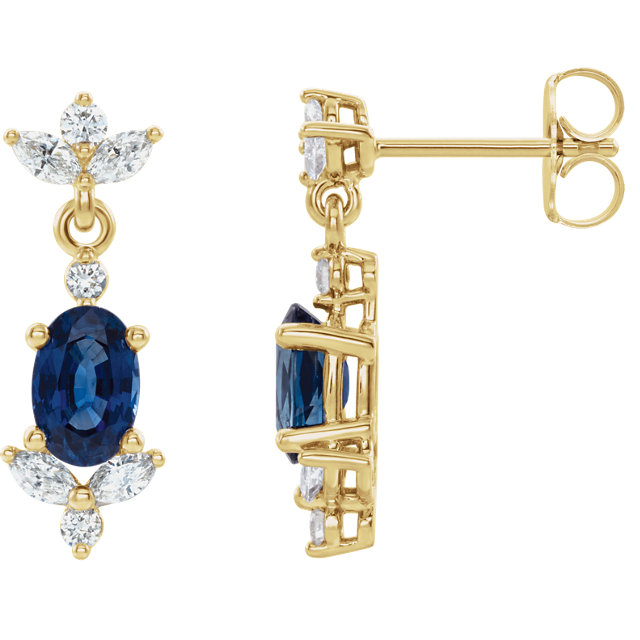 14 Karat Gold Genuine Blue Sapphire and 3/8 CTW Diamond Cocktail Dangle Earrings