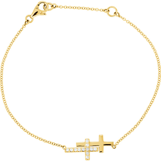 14 Karat Gold 1/5 CTW Diamond Double Sideways Cross Bracelet