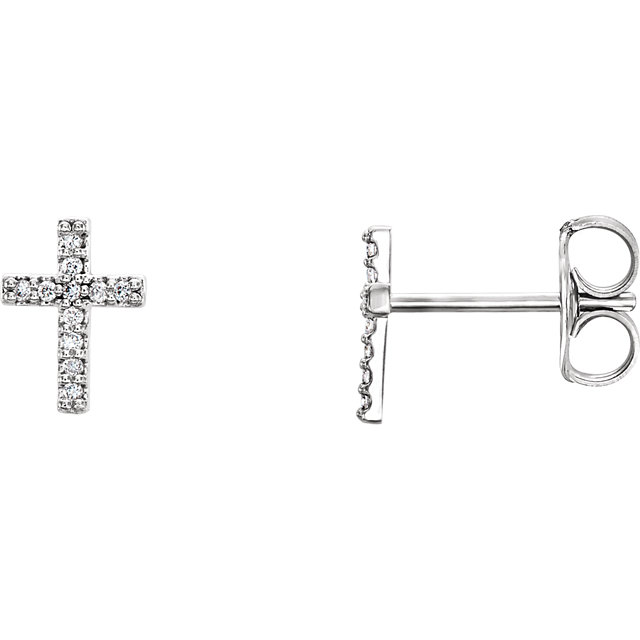 14 Karat Gold Pretty Petite Diamond Cross Stud Earrings