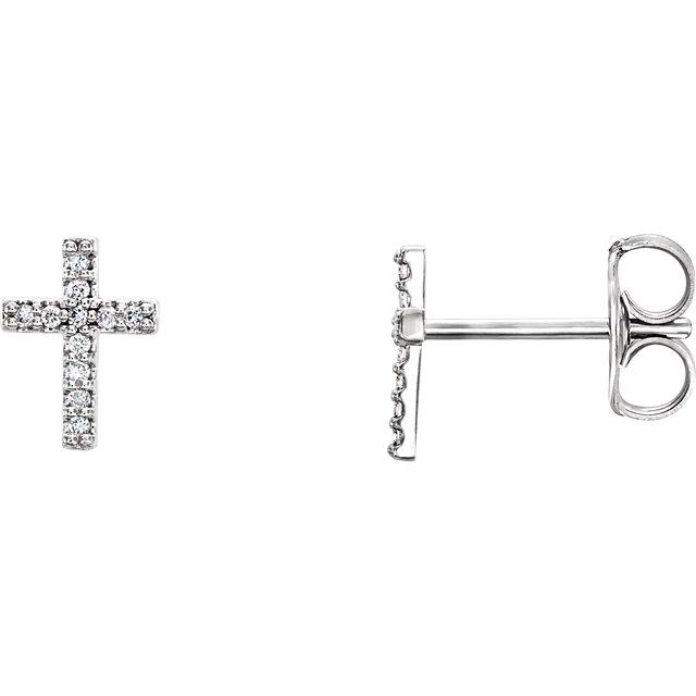 14 Karat Gold Pretty Petite Diamond Cross Stud Earrings
