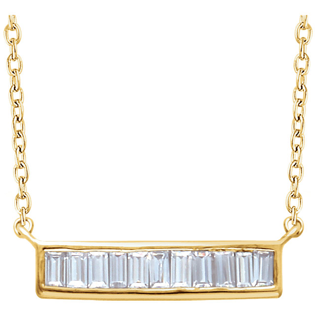 14 Karat Gold 1/4 CTW Baguette Diamond Horizontal Bar Necklace