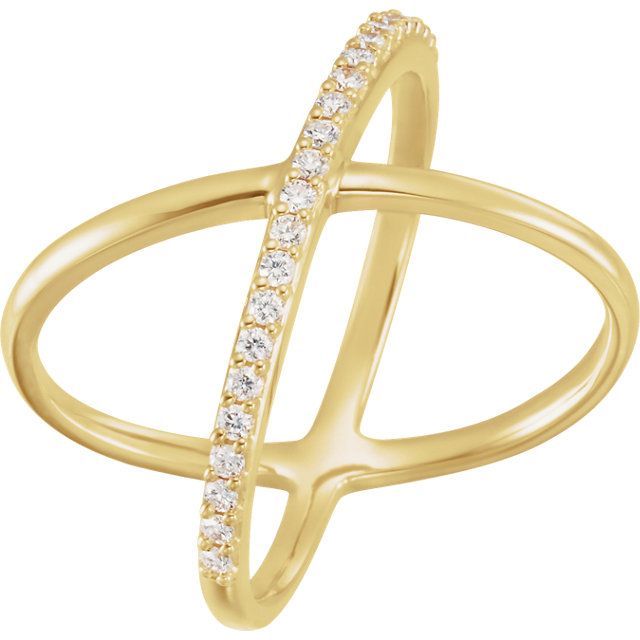 14 Karat Gold 1/4 CTW Diamond Criss Cross X Ring