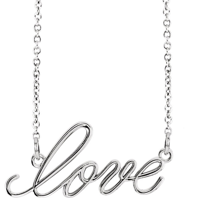 14 Karat Gold Smooth Polished Lowercase Script Love Necklace