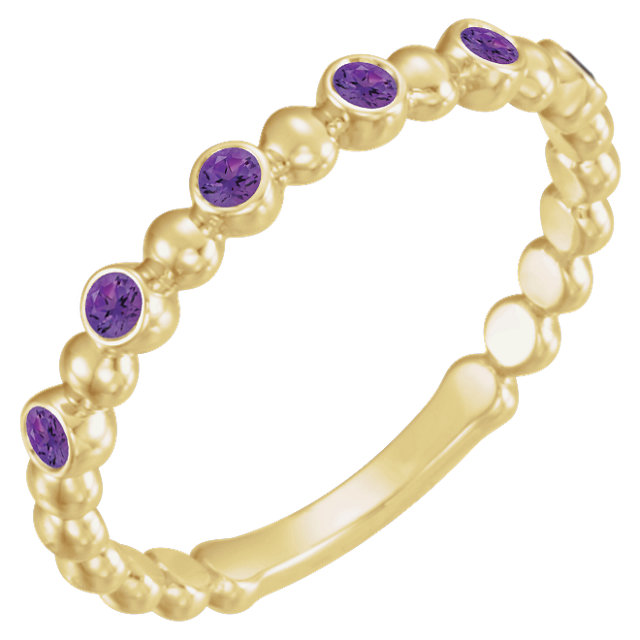 14 Karat Gold Genuine Amethyst Gemstone Beaded Ring
