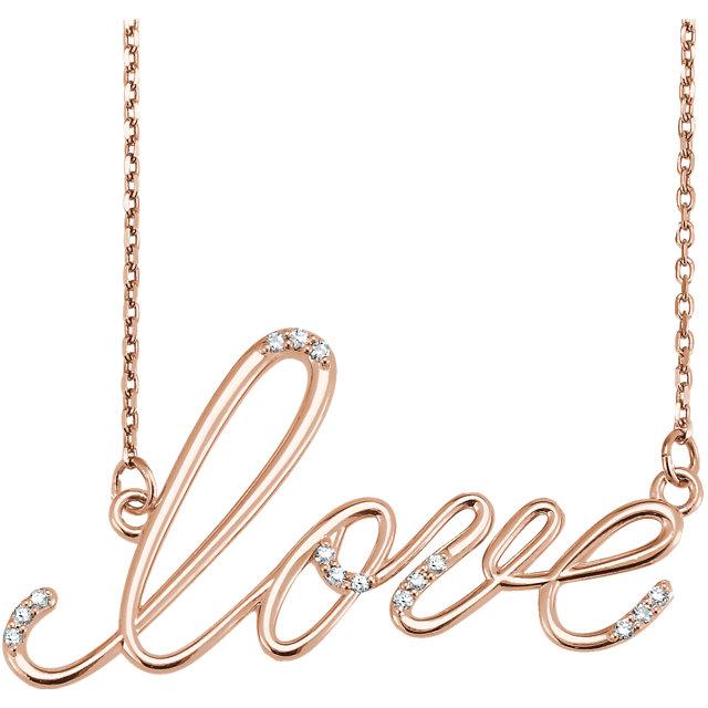 14 Karat Gold Diamond Lowercase Script Love Necklace